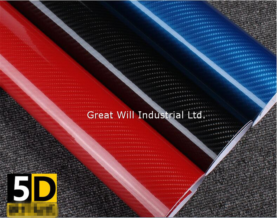 Gloss 5D Carbon Fiber Vinyl Wrap Film With Air Bubble Free Glossy Carbon 5D Black Car Wrap Like Real Carbon Size 1.52*20MRoll