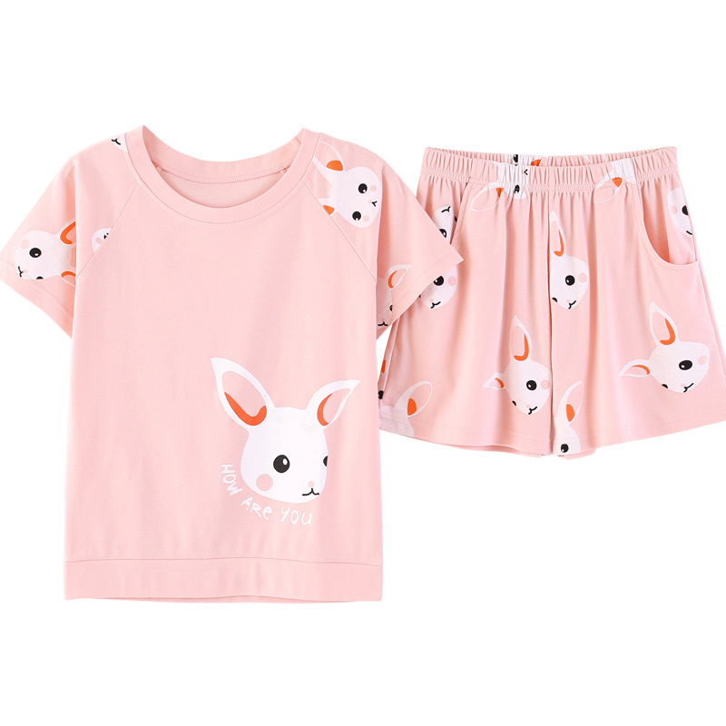 home suit Summer Women   Pajamas     Set   Cotton Women Sleepwear Pink Cute Rabbit Female Suit Casual Pyjamas Women Girls Home Wear Soft