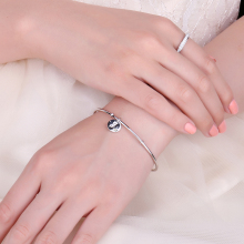 925 Sterling Silver Letter Bracelet Cuff Bangles For Women