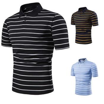 Men's short sleeve polo chest three stripe color matching fashion collocation cross-border lapels men short sleeve POLO 2