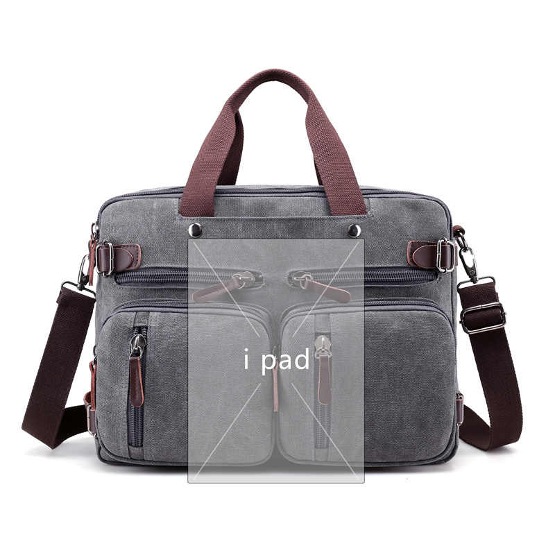 Image 4 - Men Handbags Canvas Shoulder Crossbody Messenger Bags Solid High Capacity Man Casual Travel Multifunction Back Pack Laptop 2018-in Shoulder Bags from Luggage & Bags