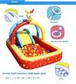 2017 новый приходить надувной бассейн для детей Цирк многофункциональный слайд бассейн, дети море мяч бассейн с горкой