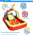 2017 new coming Inflatable water pool for kids Circus multi-function slide swimming pool, children sea ball pool with slide