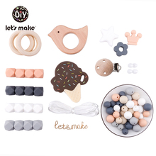 Silicone Beads Set Diy Baby Teething Necklace Cartoon Ice Cream Food Grade Silicone Teether For Baby Tooth BPA Free Baby Teether 100pcs silicone beads 9mm round bpa free diy bead for tooth silicone teether necklace jewelry making baby teething toys