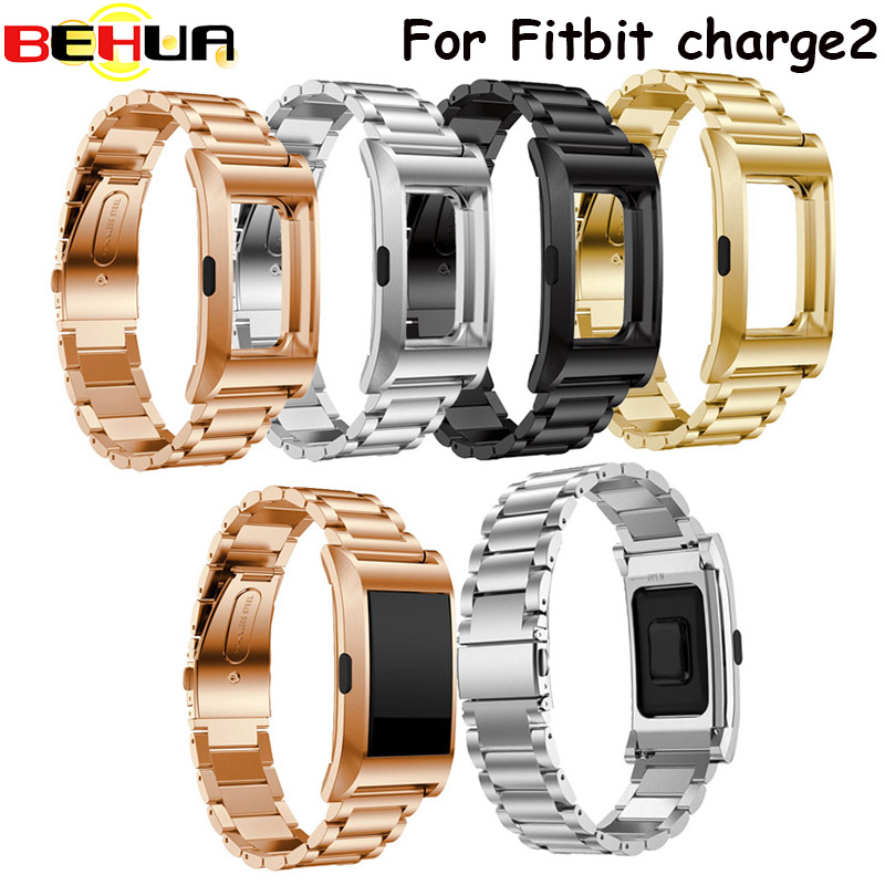 Watchband with frame case Stainless Steel Strap Bracelet Band for Fitbit Charge 2 Smart Bracelet Strap Replacement watch Strap quality bracelet stainless steel strap 18mm for fitbit charge 2 smart watch metal band with adapter
