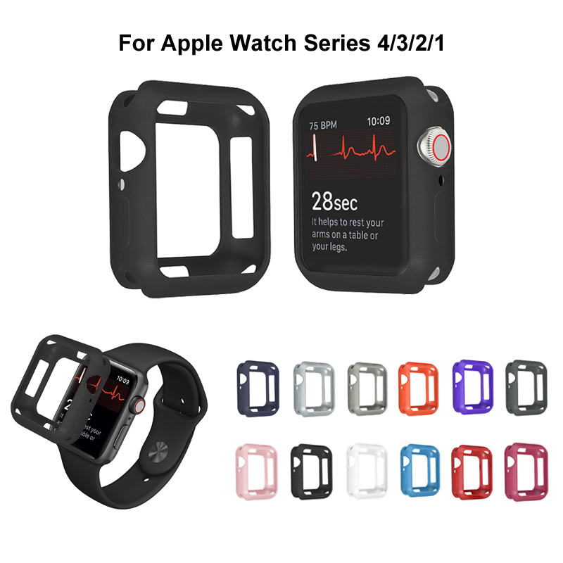Soft Silicone Case for <font><b>Apple</b></font> <font><b>Watch</b></font> <font><b>3</b></font> 2 1 38MM <font><b>42MM</b></font> Full Protective Cases Bumper for iWatch 5 4 44MM 40MM <font><b>Watch</b></font> Cover Armor image