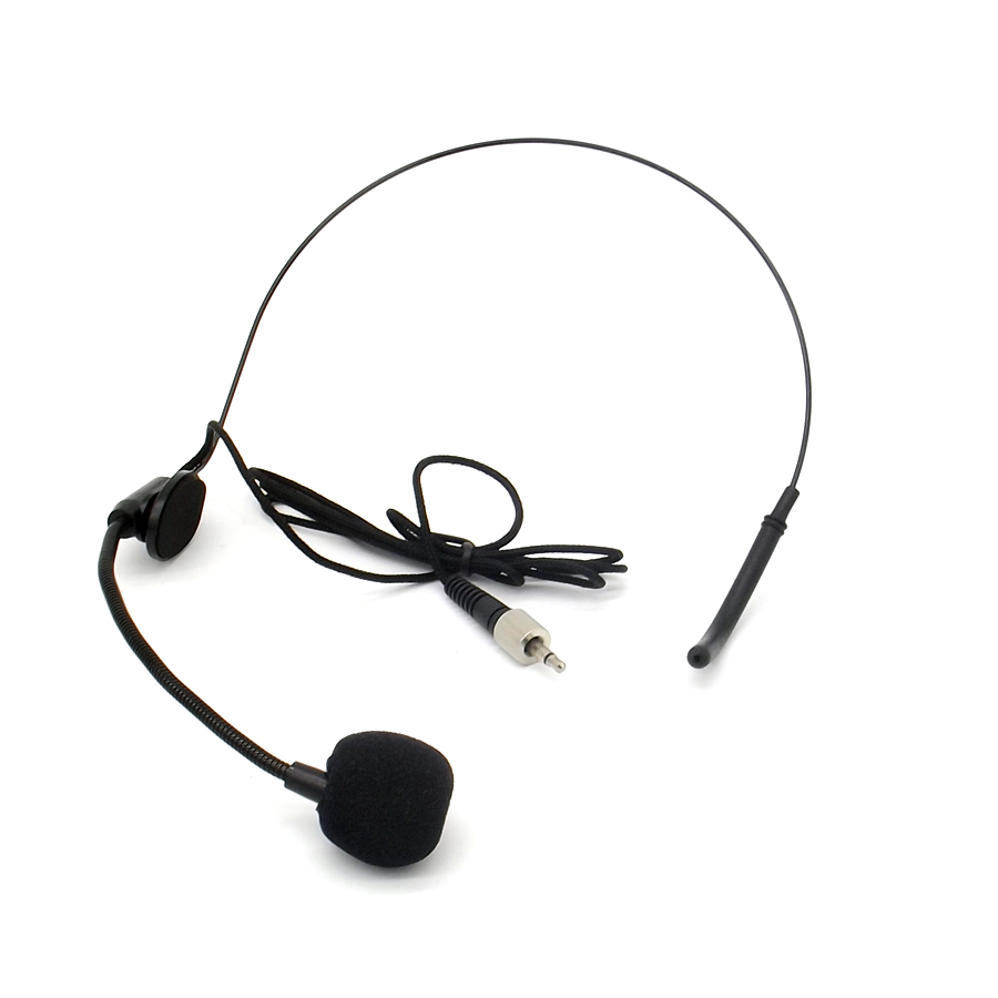 Free Shipping Black Screw Thread Lock 3.5mm Plug Ear Hook Headworn Headset Microphone Mic Mike For Wireless BodyPack Transmitter Головная гарнитура