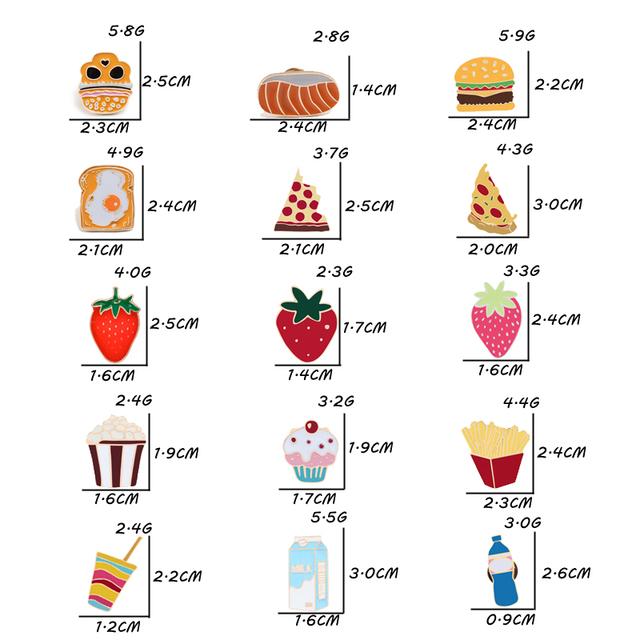 Unisex Enamel Cartoon Food Pin Brooches