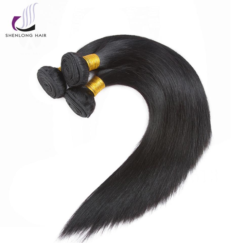 SHENLONG волос 3 Связки Малайзии прямые волосы ткань 100% человеческих волос Связки Natural Цвет не Волосы remy расширения