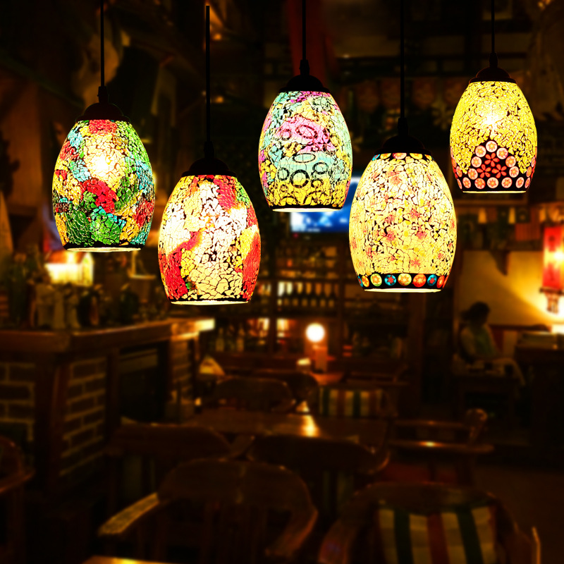Mosaic Glass Pendant Light Creative Coloured Mediterranean Style Restaurant Bar Dining Room Kitchen Hanging Light