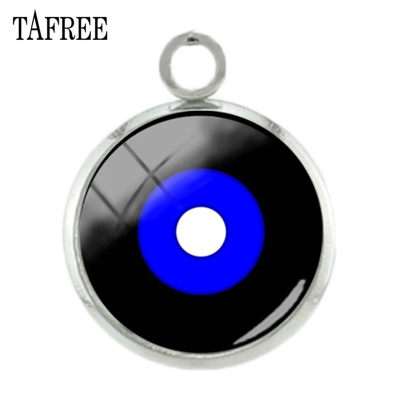 TAFREE Black Blue CD Record Music Disc Photo Charms Glass Cabochon Dome Pendants Jewelry H505CD