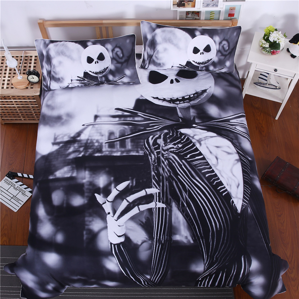 3D Nightmare Before Christmas Bedding Set new fashion white black Duvet Cover Set 3pc Include Bed