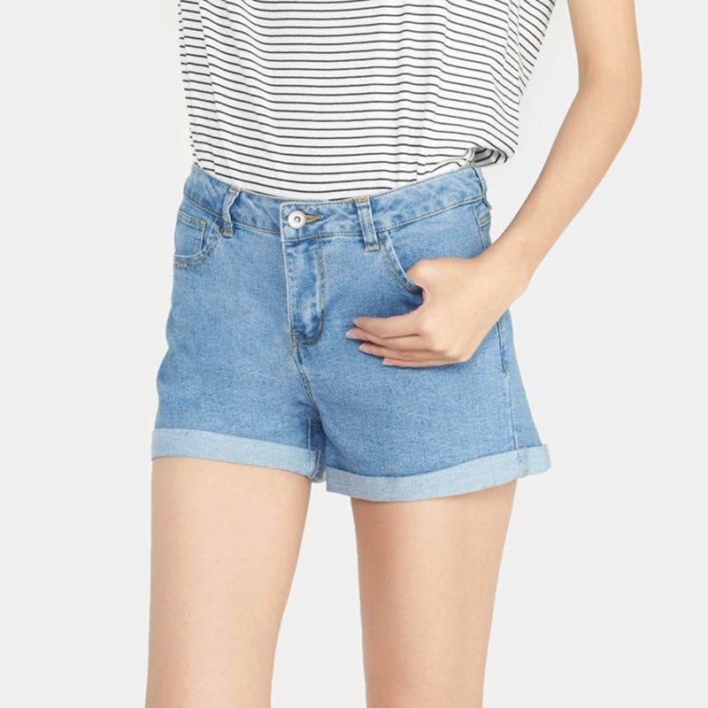 Mini şort sexy yırtılmış qısa jeans qadın 2018 yay tünd mavi - Qadın geyimi - Fotoqrafiya 2