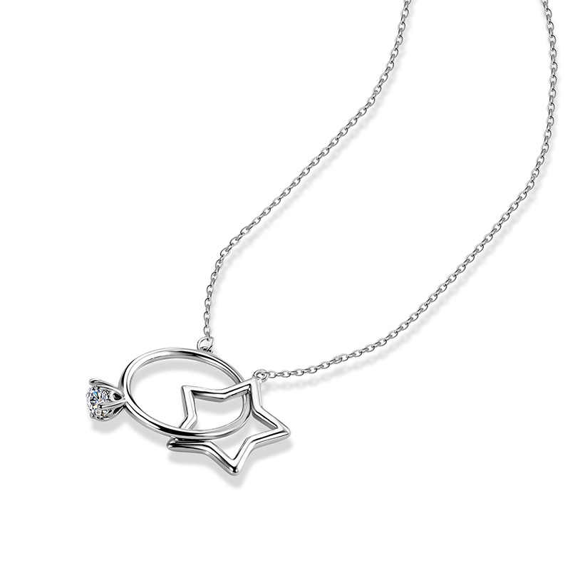 QCOOLJLY Silver Color Star With Round Crystal Special Design Pendant Necklace Love Forever Wedding Female Elegant Jewelry
