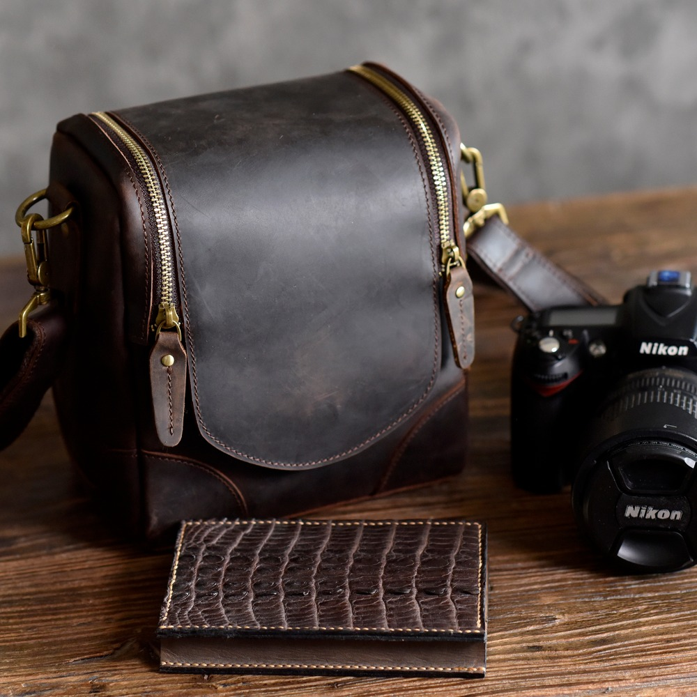 AETOO Crazy horse leather camera bag leather retro literary first layer leather shoulder slung men and women photography bag