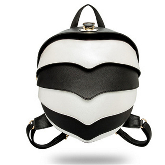 9524756d7e Black White Striped Cute Women Backpack Pangolin Multi-Functional Messenger  PU Leather Waterproof Couples Parent