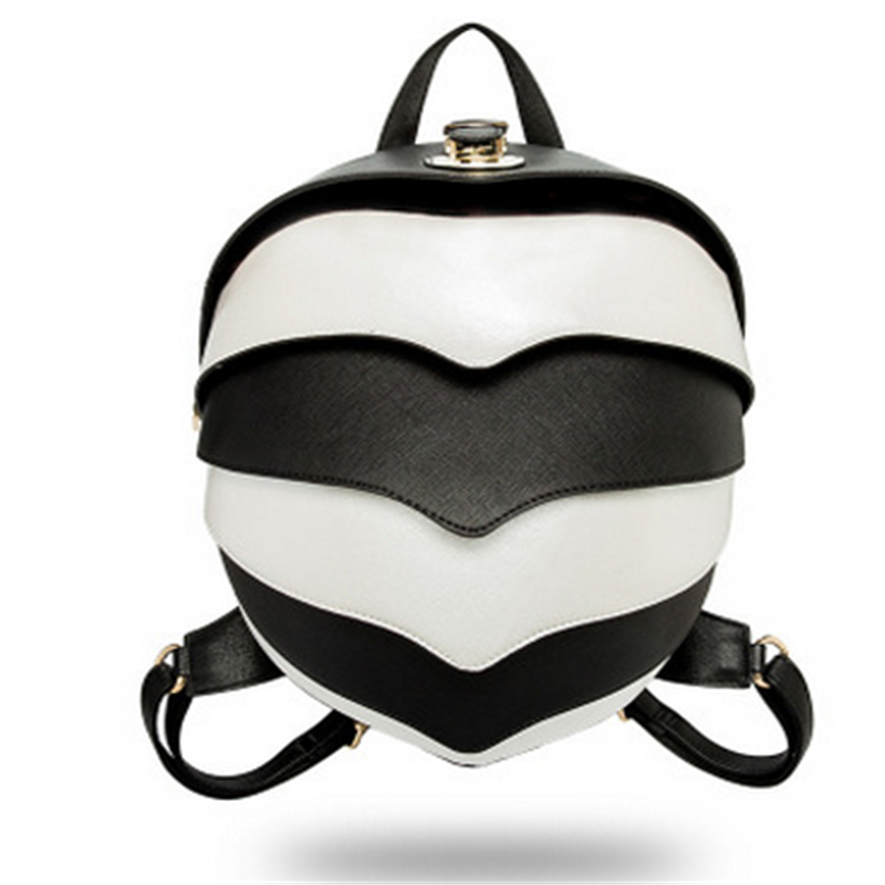 Noir blanc rayé mignon femmes sac à dos Pangolin multi-fonctionnel Messenger PU cuir étanche Couples Parent-enfant sac