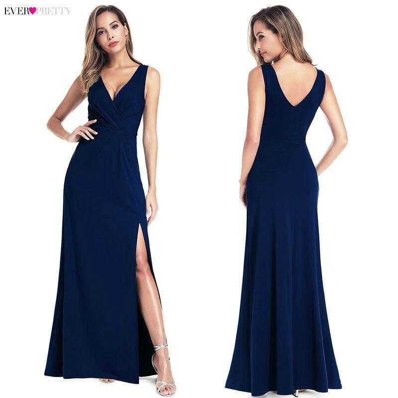 Image 5 - Black Prom Dresses 2020 Ever Pretty Mermaid Sleeveless V Neck High Split Ruffles Elegant Women Evening Party Dresses Gala JurkenProm Dresses   -