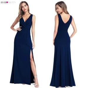 Image 5 - Black Prom Dresses 2020 Ever Pretty Mermaid Sleeveless V Neck High Split Ruffles Elegant Women Evening Party Dresses Gala Jurken