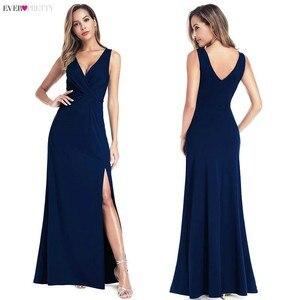 Image 5 - Noir robes de bal 2020 jamais jolie sirène sans manches col en v haute fente volants femmes élégantes soirée robes de soirée Gala Jurken