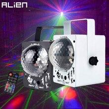 الغريبة RGB LED كريستال ديسكو ماجيك الكرة مع 60 أنماط RG جهاز عرض ليزر DJ حفلة عطلة بار عيد الميلاد مرحلة الإضاءة تأثير
