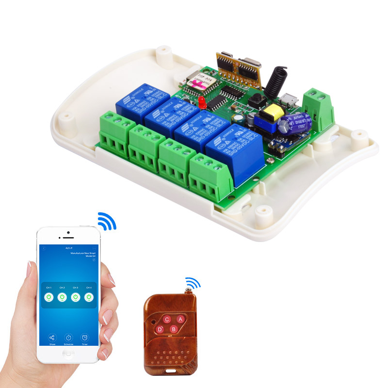 WIFI Switch 5V/dc7-32v 4-way Relay rf receive Jog Inching Self-locking wireless remote control for smart home Automation Modules