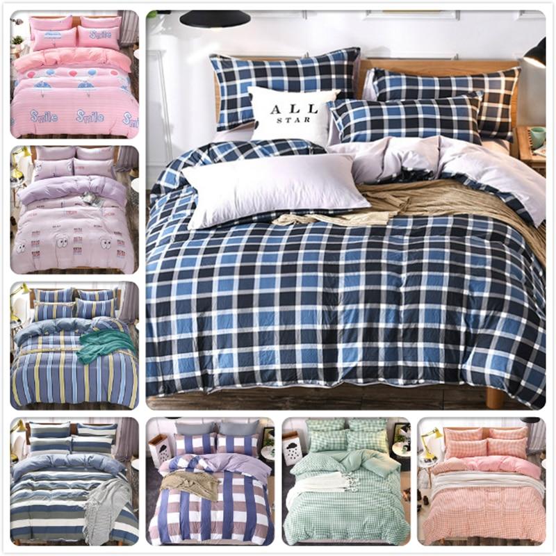 Blue Black Stripe Pliad Bedlinens 3/4 pcs Bedding Set Full King Queen Double Size Duvet Cover 1.5m 1.8m 2.0m Bedsheet Bedclothes