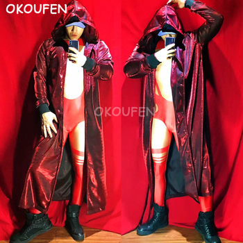 Bar Nightclub Male Singer DJ Red sequins Long Cloak Party Show Stage performance Costume