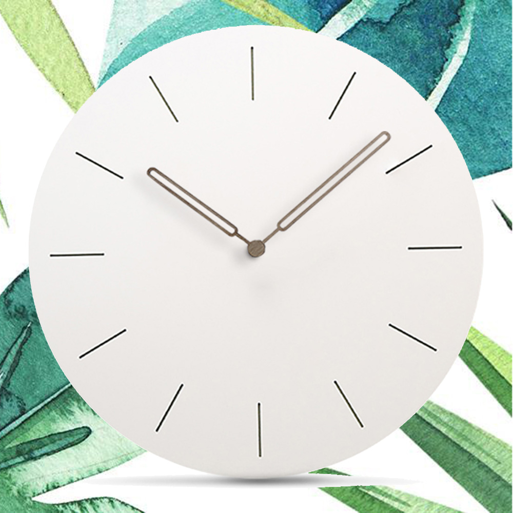Modern Wooden Wall Clock Living Room Creative Simple Europe Silent Handmade Quartz MDF Wood Hanging Wall Clocks