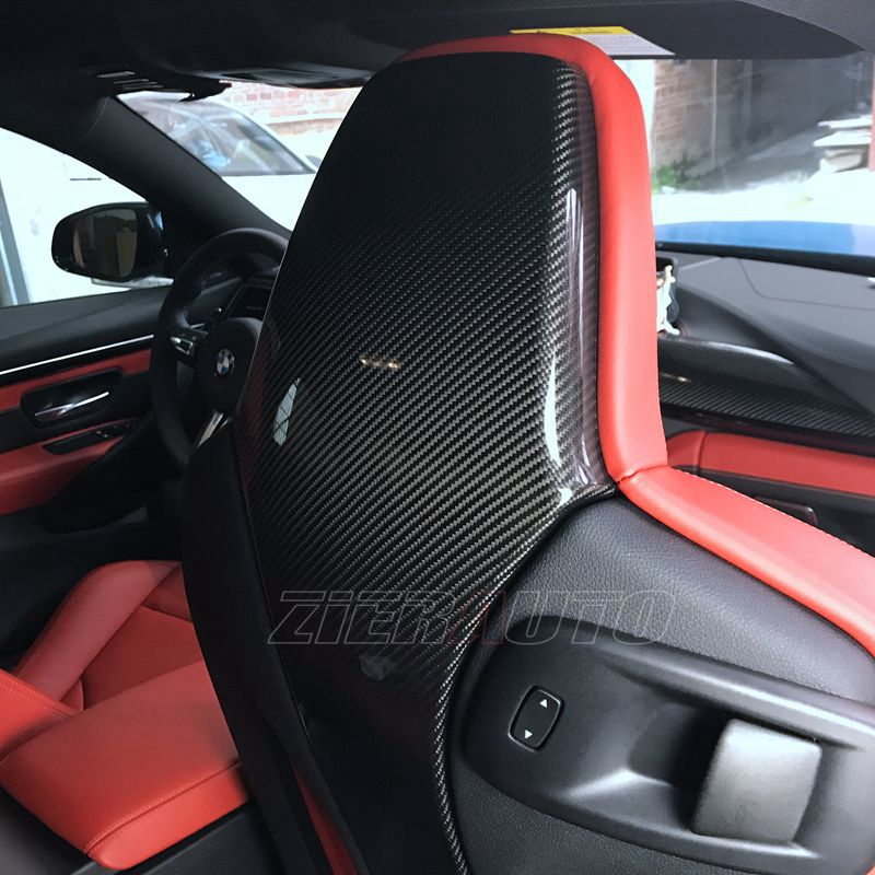 For BMW M3/M4 Carbon Fiber Seat Back Cover BMW F80 F82 Real Full Carbon Stickers Interior Trims