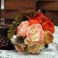 2017 Новый Arival Дешевые Свадебные/Невесты Свадебный Букет Романтический Пион Красочные Ручной Работы Искусственные Букеты
