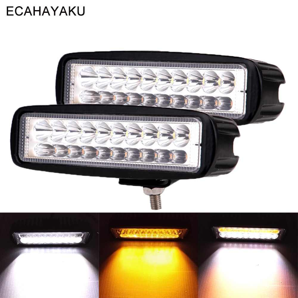 ECAHAYAKU 2Pcs 6inch Car Led Work Light 3000K 6000K Dual Colors 60W 12V 24V Led Bar Lamp for Off Road 4x4 SUV Truck Trailer Boat
