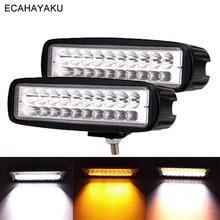ECAHAYAKU 2Pcs 6inch Car Led Work Light 3000K 6000K Dual Colors 60W 12V 24V Bar Lamp for Off Road 4x4 SUV Truck Trailer Boat