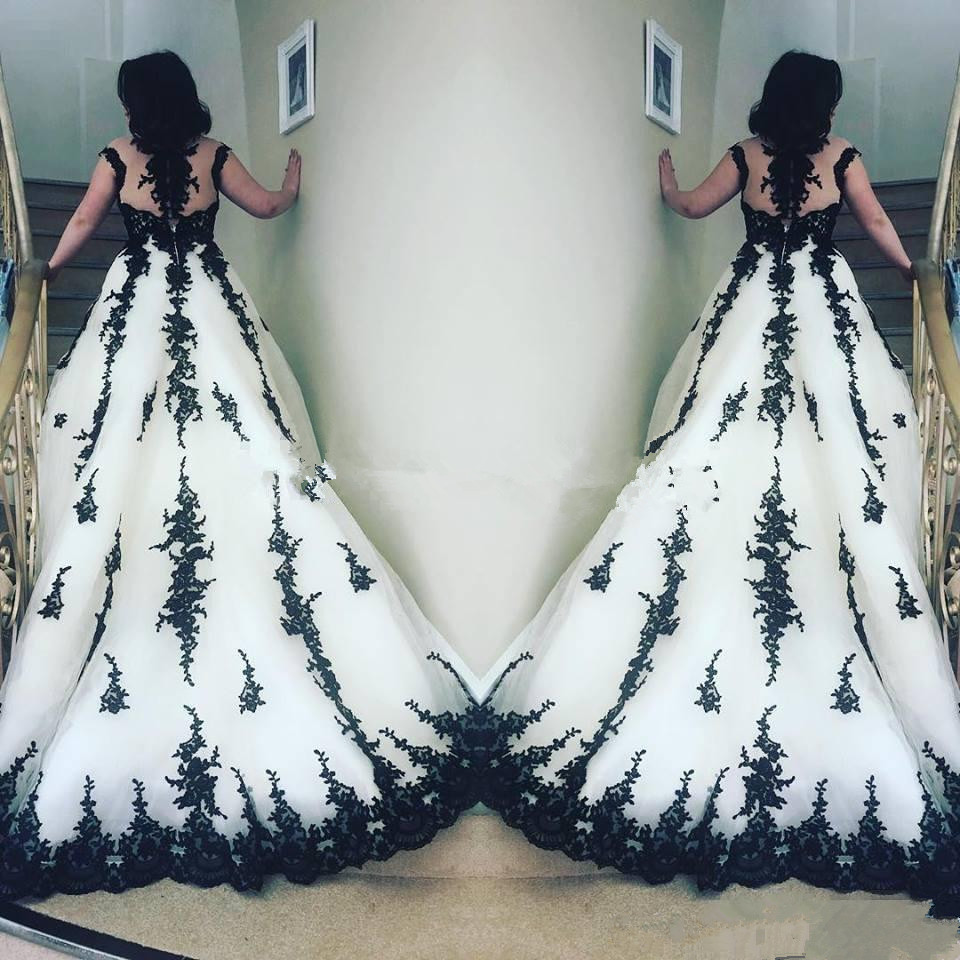 lace black and white wedding dresses with sleeves