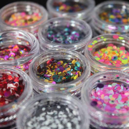 1 caja de lentejuelas brillantes redondas ultrafinas, puntas de purpurina para arte de uñas coloridas, Gel UV 3D, manicura de uñas decorativa, accesorios DIY 2017 NR234