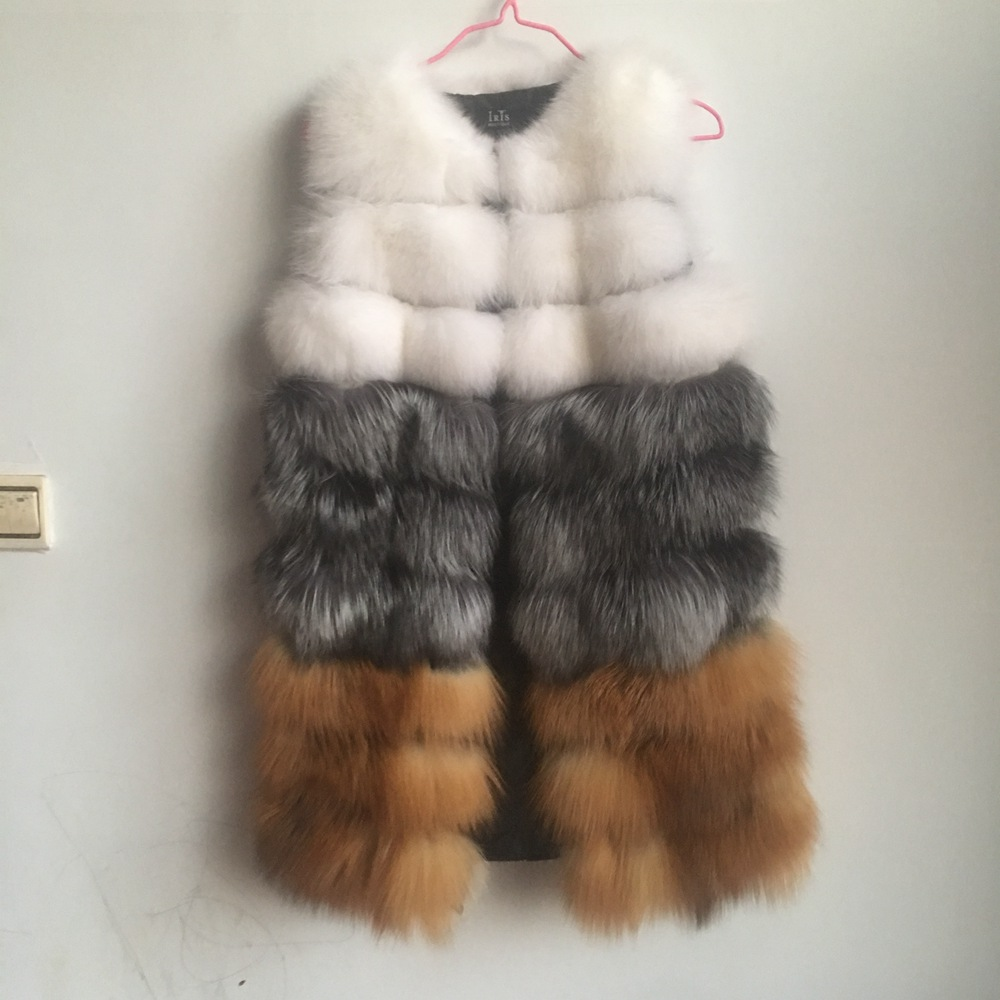 2018 Special Offer O-neck Sleeveless Fox Fur Long New Real Fur Coat Luxury Women Winter Fashion Style Natural Vest Female Fox
