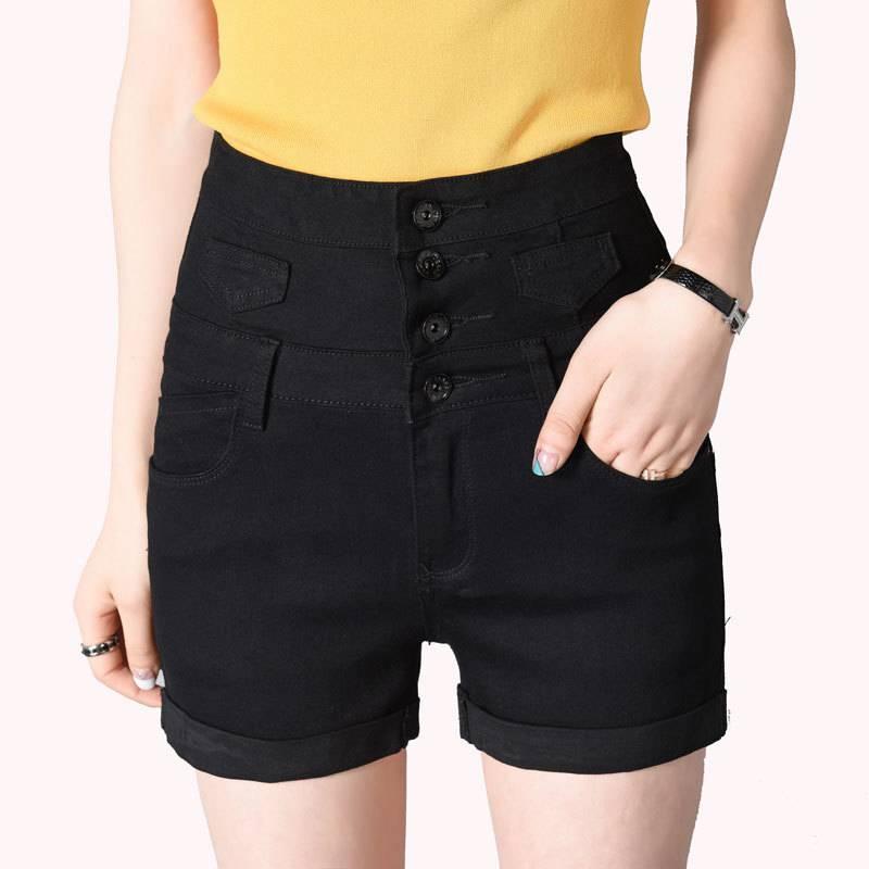 Shorts Sexy Feminino England-Style Black High-Waist Summer Plus-Size Denim Single-Breasted