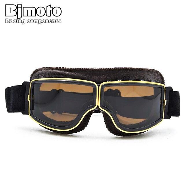 Bjmoto Vintage Ski Glasses Harley Style Motorcycle Goggles Pilot