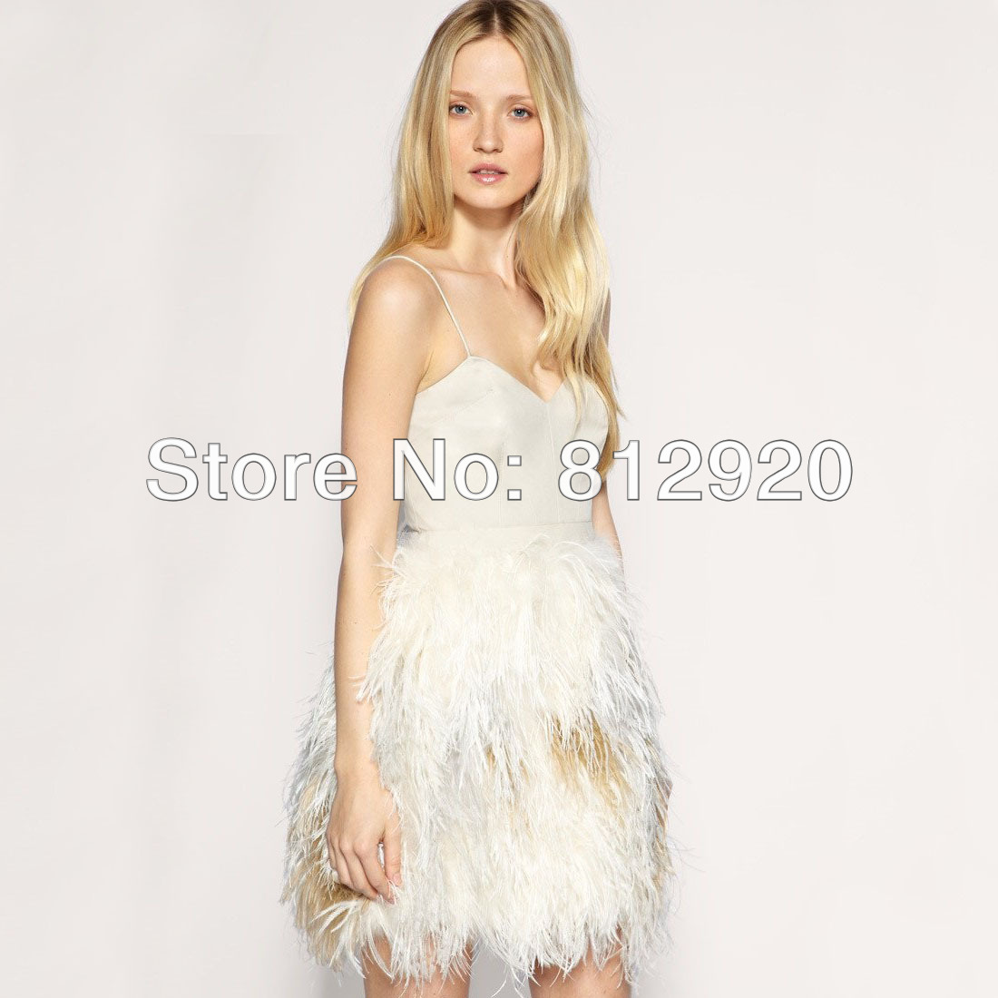 C166 Spaghetti Straps Mini Short Homecoming   Cocktail     Dress   Skirt Feathers