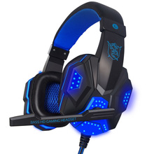 Gaming Big Headset Wired Headband Headphones with Mic LED Light Over Ear Stereo Noise Reduction Auriculares
