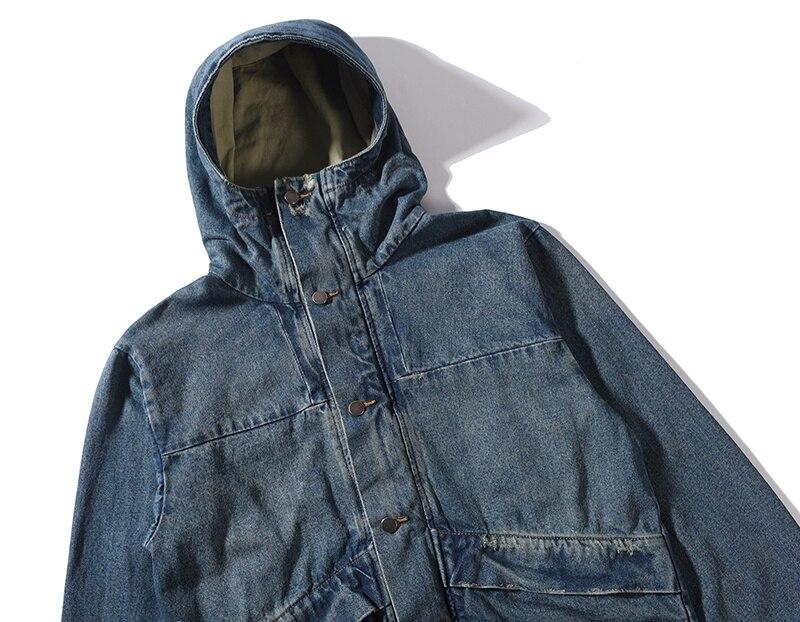 HIPFANDI haute qualité mode décontracté veste hommes Street Blue veste Hip Hop High Street costume Denim veste avec capuche hommes M XL - 3