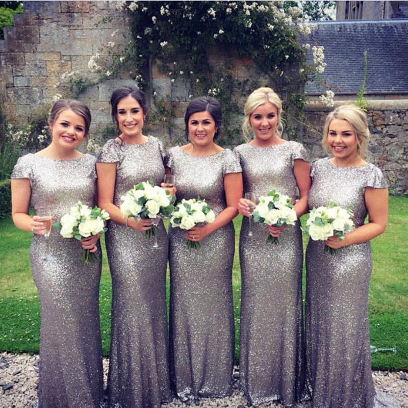 2019 Gold Shiny Sequined Silver Bridesmaid dress Scoop Neck Women Bridesmaid Dresses Custom Made Wedding Party Dress