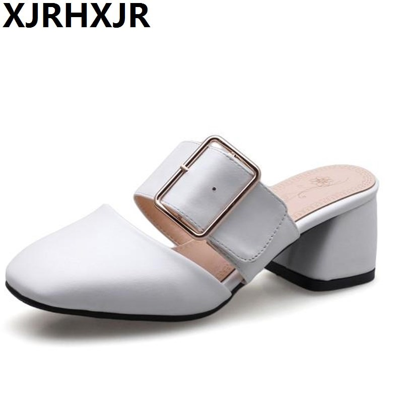 XJRHXJR 2018 New Summer Lady Close Toe Lady Fashion High Heel Sandal Slipper Fashion Woman Clogs Lady Casual Sandals Mule Shoes women s clogs adult shoes lady