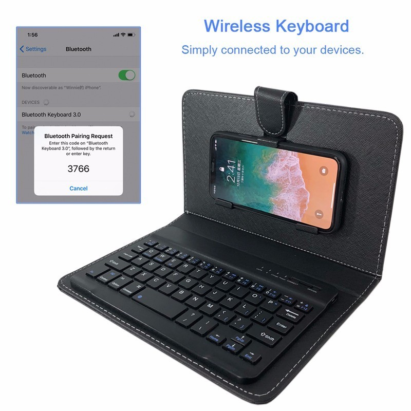 new concept 374a6 b7fdd US $16.5 |PU Leather Flip Phone Case with Wireless Bluetooth Keyboard for  iPhone X 7 8 8plus, for SAMSUNG Redmi Mate 10 Xiaomi 6-in Flip Cases from  ...