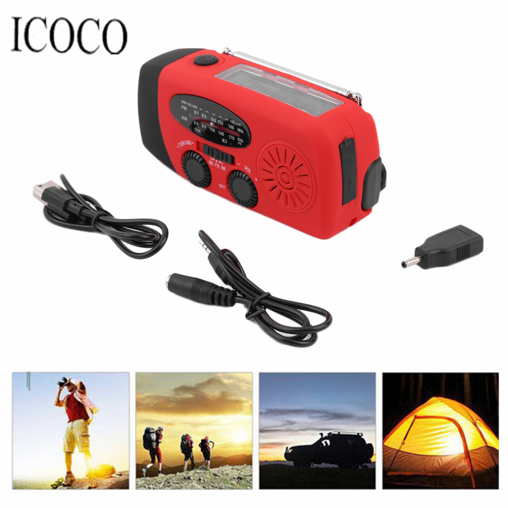 3 In 1 Emergency Charger Hand Crank Generator Wind Solar Dynamo Powered FM AM Radio Phones