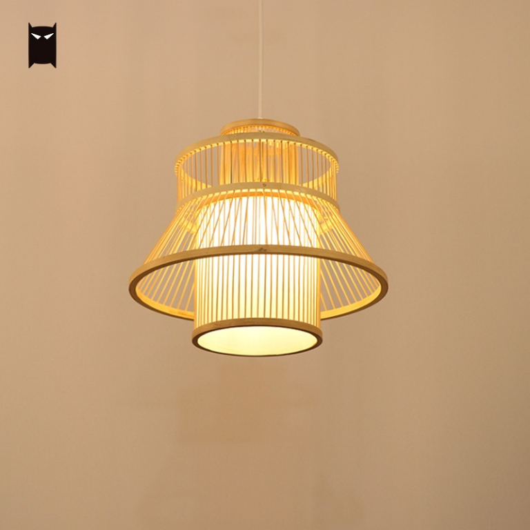 Bamboo Wicker Rattan Bloom Pendant Light Fixture Natural New Designer Art Deco Meditation Yoga Tatami Hanging Ceiling Lamp Room|Pendant Lights| |  - title=