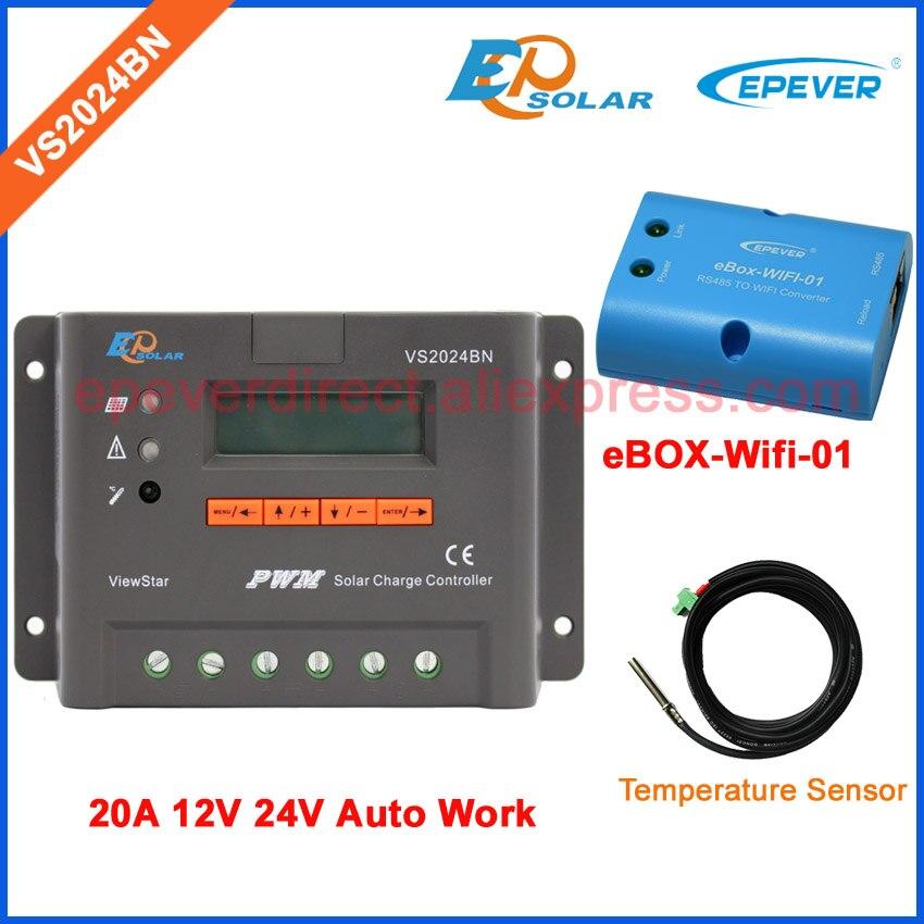 Contrôleur de charge de panneau solaire EPSolar PWM VS2024BN avec capteur de température et boîtier wifi 12 V 24 V travail automatique 20A