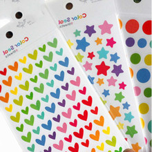 6 Sheets Sticker Kid Diary Planner Colorful Rainbow Heart Star Decoration Journal Scrapbook Albums Photo toys for Childrens