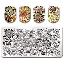 Pandox 6*12cm Rectangle Nail Stamping Plate VY19 Big Flower Design Nail Art Image Plate цена 2017