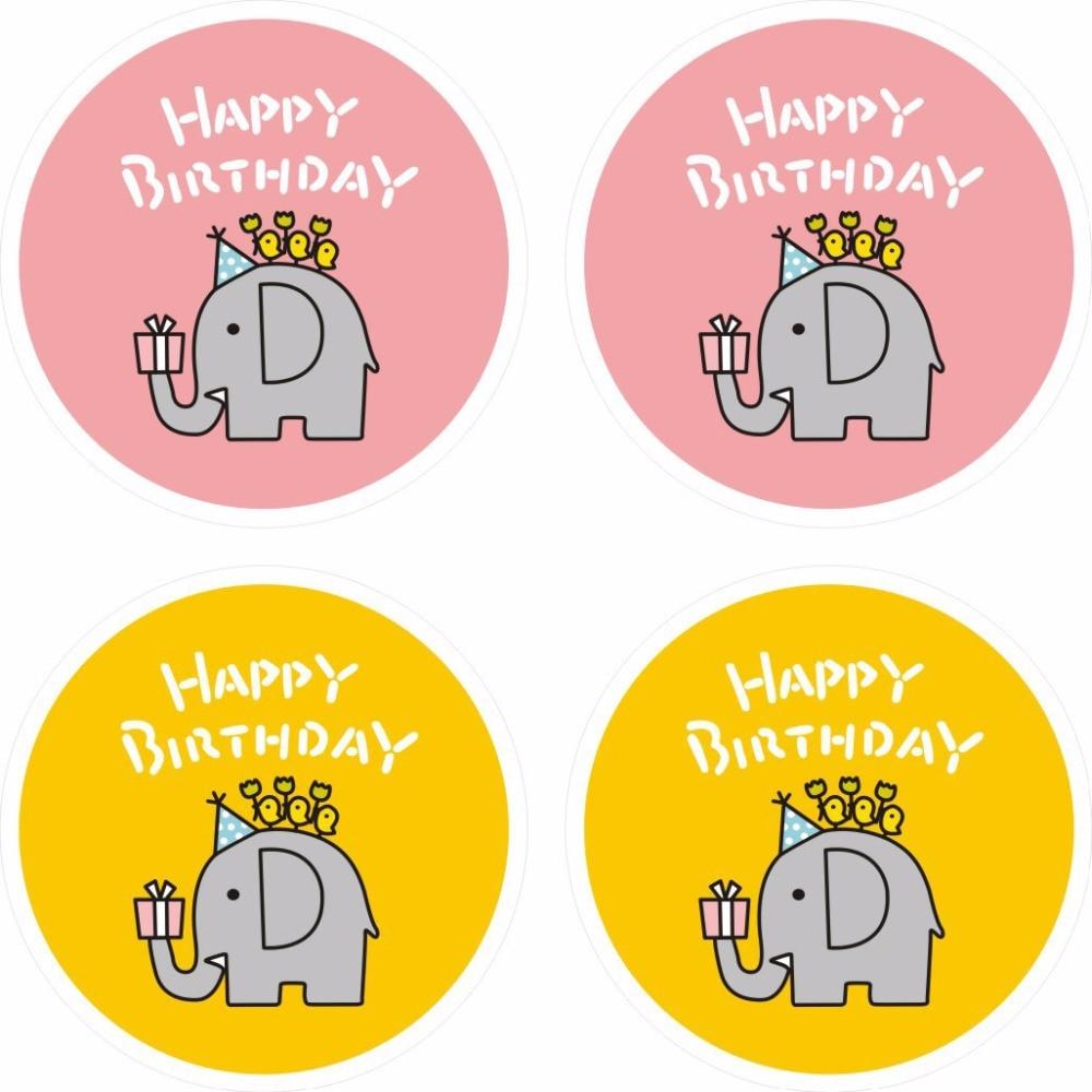 80pcs Paper Sticker Happy Birthday Round Label,Gift